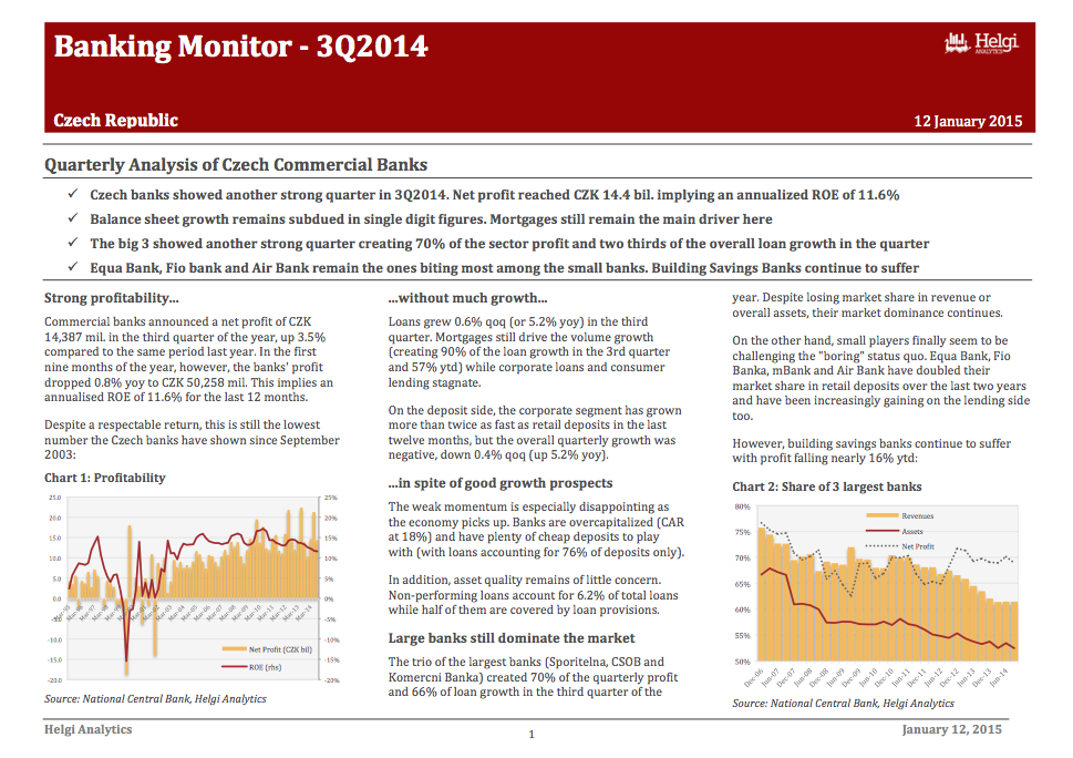 Czech Banking - Analysis of 3Q2014