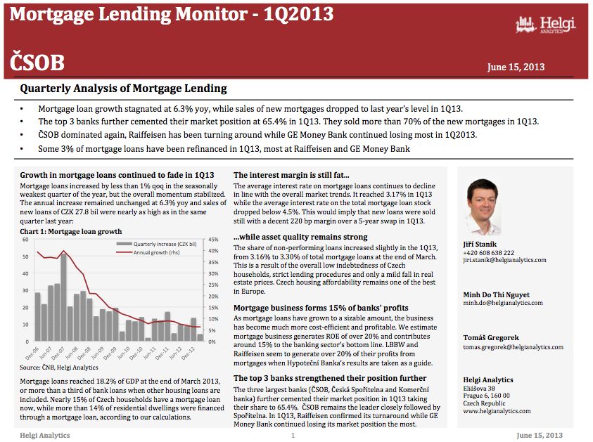 CSOB - Analysis of Mortgage Lending in 1Q13