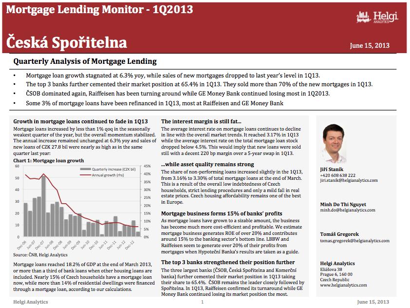 Ceska Sporitelna - Analysis of Mortgage Lending in 1Q13