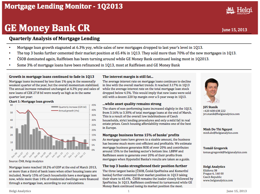 GE Money Czech Rep. - Analysis of Mortgage Lending in 1Q13