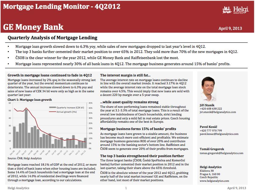 GE Money Czech Republic - Analysis of Mortgage Lending in 4Q12