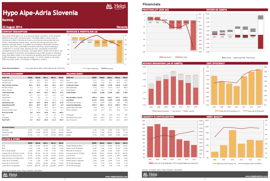 Hypo Alpe-Adria-Bank Slovenia at a Glance
