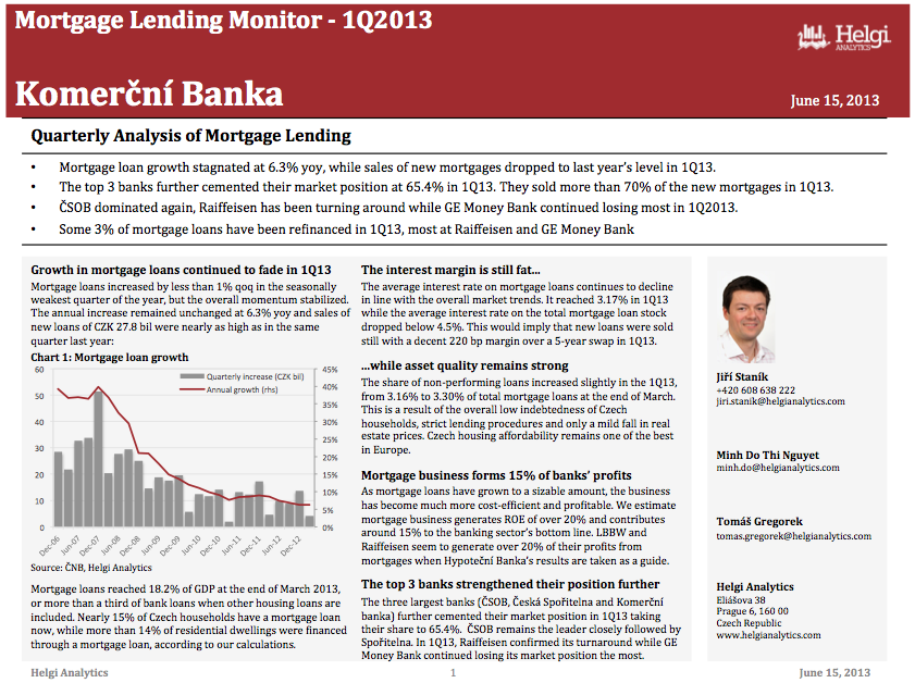 Komercni Banka - Analysis of Mortgage Lending in 1Q13