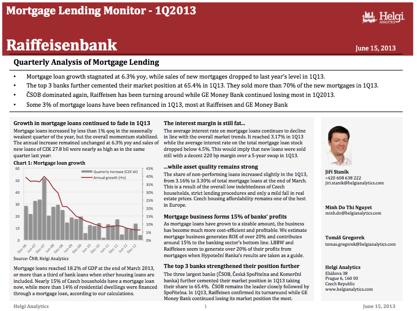 Raiffeisenbank - Analysis of Mortgage Lending in 1Q13