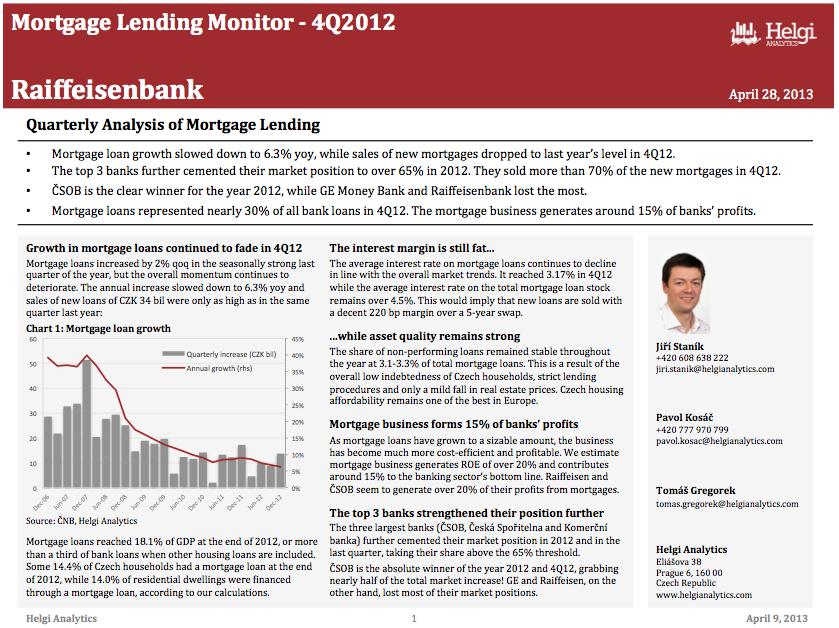 Raiffeisen Czech Republic - Analysis of Mortgage Lending in 4Q12