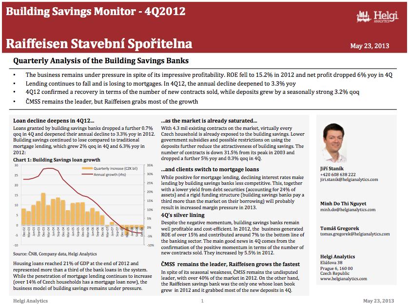Raiffeisenbank Czech Rep. - Analysis of Building Savings in 4Q12