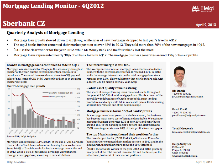 Sberbank Czech Republic - Analysis of Mortgage Lending in 4Q12