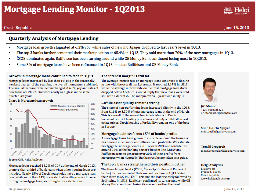Sberbank Czech Republic - Analysis of Mortgage Lending in 1Q13