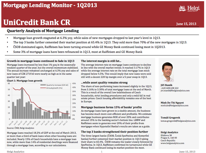 UniCredit Czech Republic - Analysis of Mortgage Lending in 1Q13