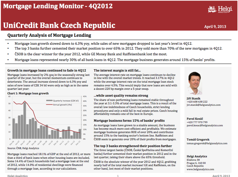UniCredit Czech Republic - Analysis of Mortgage Lending in 4Q12